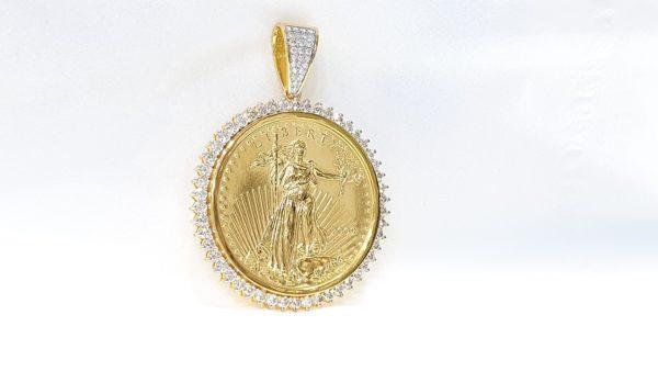 Gold Diamond Lady Liberty Coin Pendant