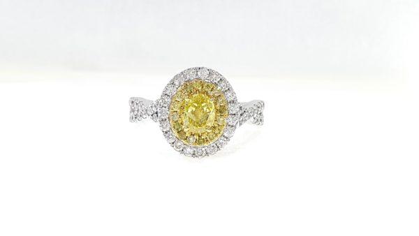 Oval Fancy Yellow Diamond Ring