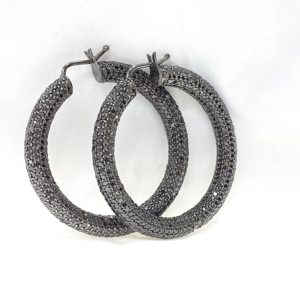 Round Black Diamond Hoop Earrings