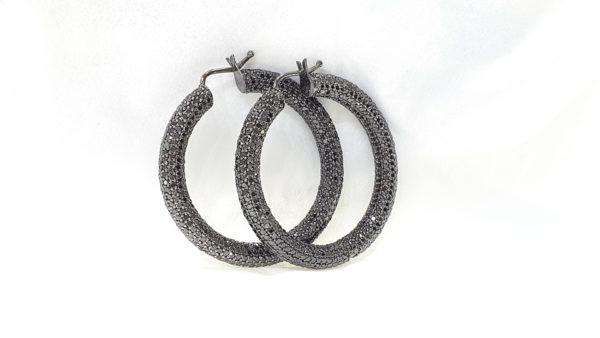 Round Black Diamond Hoop Earrings