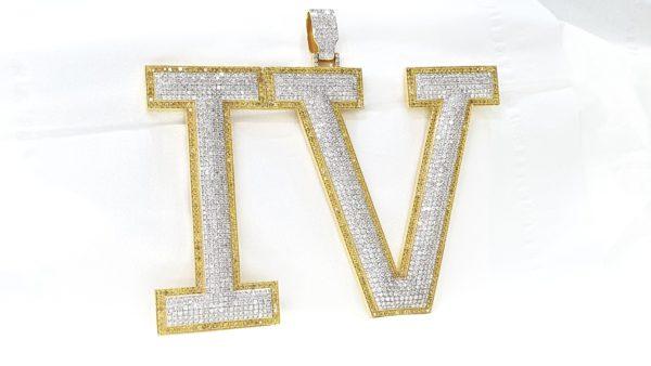 Initial Letter IV Diamond Pendant