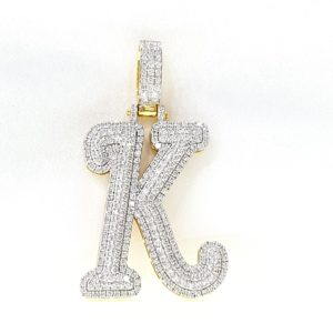 Gold K Initial Custom Letter Diamond Pendant