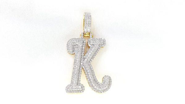 Gold K Initial Custom Letter Diamond Pendant