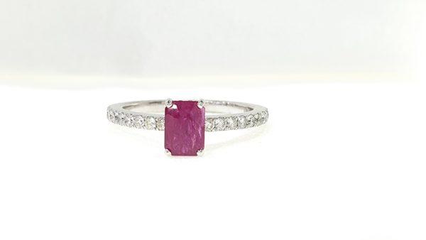 Natural Ruby Stone & Diamond Ring
