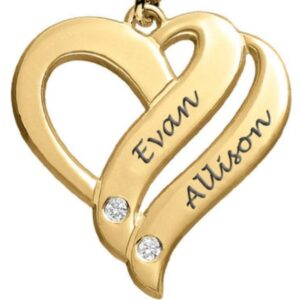 YELLOW GOLD 18 KT HEART PENDANT WITH DIAMONDS